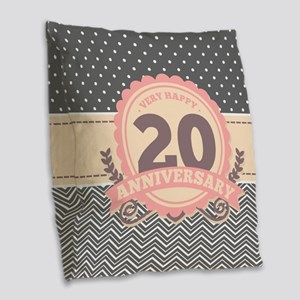 20th Anniversary Gift Chevron Burlap Throw Pillow
