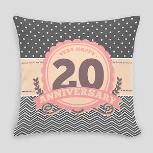 20th Anniversary Gift Chevron Dots Everyday Pillow