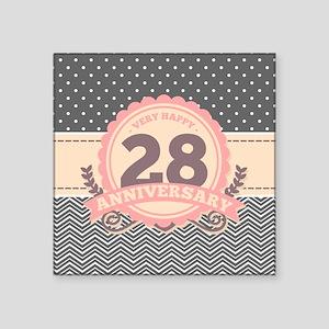 """28th Anniversary Gift Chevr Square Sticker 3"""" x 3"""""""
