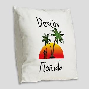 Destin Florida Burlap Throw Pillow