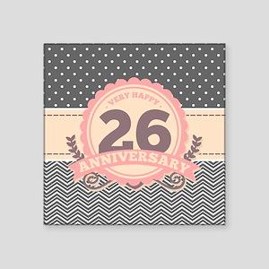"""26th Anniversary Gift Chevr Square Sticker 3"""" x 3"""""""