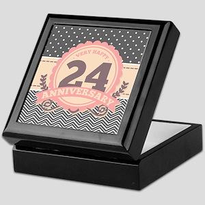 24th Anniversary Gift Chevron Dots Keepsake Box
