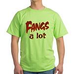 Fangs A Lot Halloween Costume Green T-Shirt