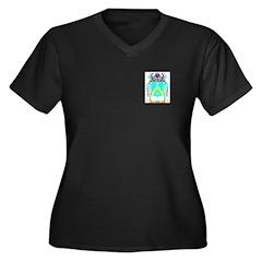 Oddi Women's Plus Size V-Neck Dark T-Shirt