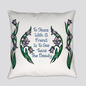 Sharing With a Friend Flower Frame Everyday Pillow