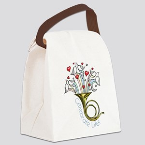 Doves and Hearts Flying From Trum Canvas Lunch Bag
