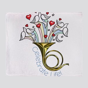 Doves and Hearts Flying From Trumpet Throw Blanket