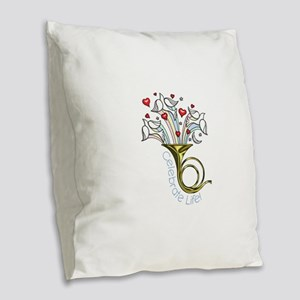 Doves and Hearts Flying From T Burlap Throw Pillow