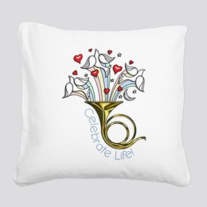 Doves and Hearts Flying From Square Canvas Pillow