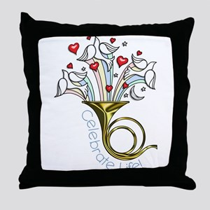Doves and Hearts Flying From Trumpet Throw Pillow