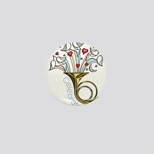 Doves and Hearts Flying From Trumpet Mini Button