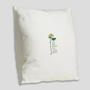 Single Yellow Rose with Sentim Burlap Throw Pillow