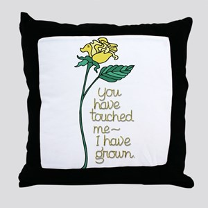 Single Yellow Rose with Sentiment Throw Pillow