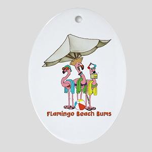 Flamingo Beach Bums Oval Ornament