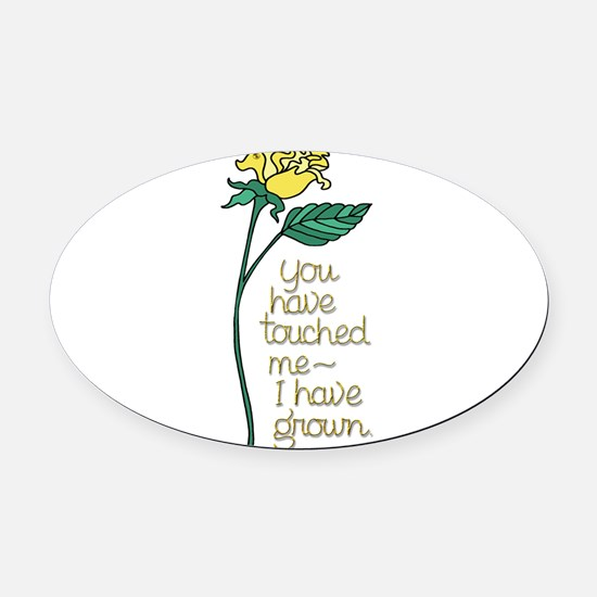 Single Yellow Rose with Sentiment Oval Car Magnet