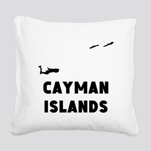 Cayman Islands Silhouette Square Canvas Pillow