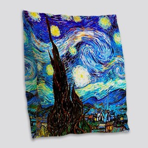 Starry Night Van Gogh Burlap Throw Pillow