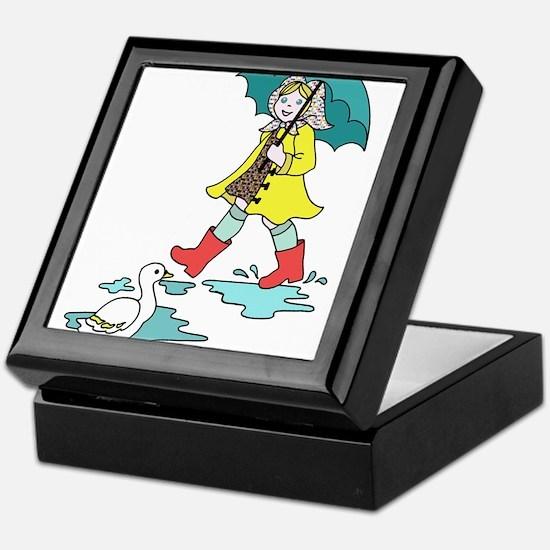 Little Girl Walking in the Rain Keepsake Box