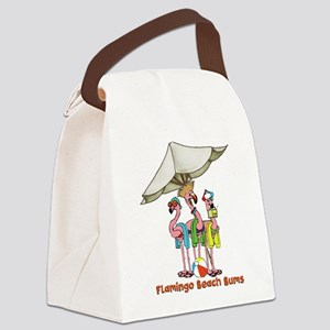 Flamingo Beach Bums Canvas Lunch Bag