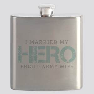 I Married My Hero - Army Wife Flask