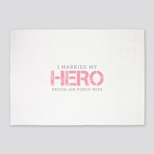 I Married My Hero - Air Force Wife 5'x7'Area Rug