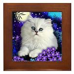 White Persian Cat Framed Tile