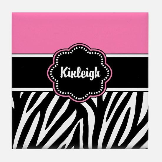 Pink Zebra Print Personalized Tile Coaster
