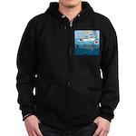 Whale Shark Love Zip Hoodie (dark)