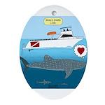 Whale Shark Love Oval Ornament