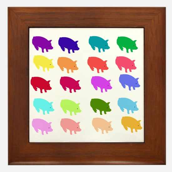 Rainbow Pigs Framed Tile