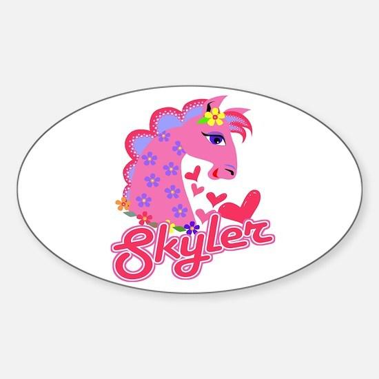 Skyler Loves Ponies Oval Decal