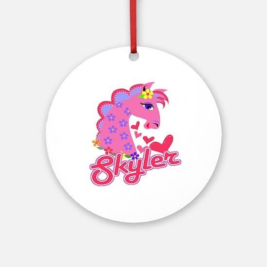 Skyler Loves Ponies Ornament (Round)