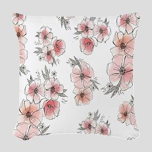 Floral Print Woven Throw Pillow