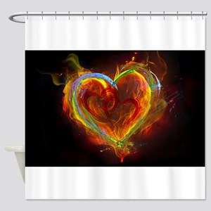 Two Hearts Burning Desire Shower Curtain