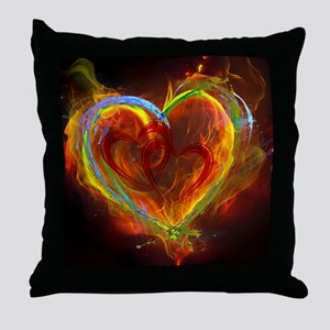 Two Hearts Burning Desire Throw Pillow