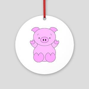Cute Cartoon Pig Ornament (Round)