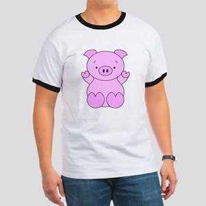 Cute Cartoon Pig Ringer T
