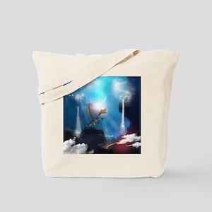 Dragon in a magical fantasy landscape Tote Bag