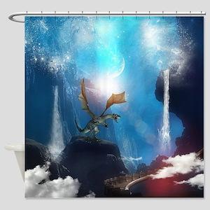 Dragon in a magical fantasy landscape Shower Curta