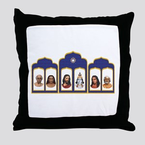 Standard Altar with 6 Gurus Throw Pillow