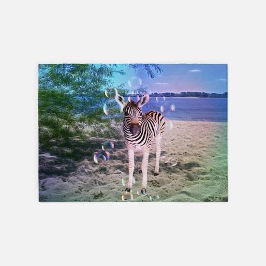 Zebra with bubbles 5'x7'Area Rug