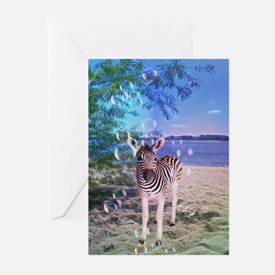 Zebra with bubbles Greeting Cards