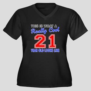 Really Cool Women's Plus Size V-Neck Dark T-Shirt