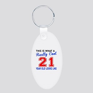 Really Cool 21 Birthday Des Aluminum Oval Keychain