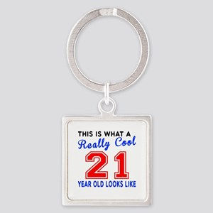 Really Cool 21 Birthday Designs Square Keychain