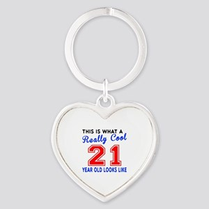 Really Cool 21 Birthday Designs Heart Keychain