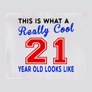 Really Cool 21 Birthday Designs Throw Blanket