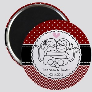 Personalized Monkey Couple Red Chevron Dots Magnet