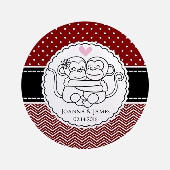 Personalized Monkey Couple Red Chevron Dots Button