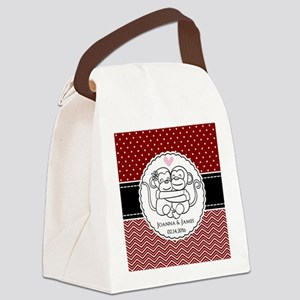 Personalized Monkey Couple Red Ch Canvas Lunch Bag